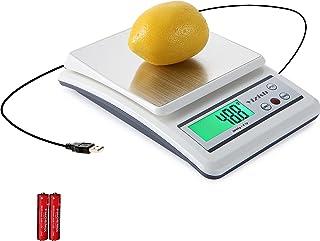 Yizish Báscula de Cocina Digital (Cable USB + Pilas de alimentación), Báscula de la Carne del alimento de Multifunction, Plataforma de Acero Inoxidable con Pantalla LCD para cocinar el Horno