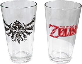 The Legend of Zelda Nintendo Pint Glass/Beer Glass - Novelty Gifts and Drink ware Toys & Video Game (Tri-force Wing-crest, Royal Family of Hyrule), 16 OZ
