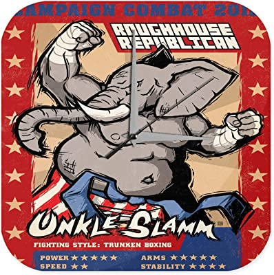 Fun Decorative 壁時計 wall clock Trading card Campaign Combat 2012 Unkle Slamm Elephant Kickboxing Printed Acryl Plexiglass
