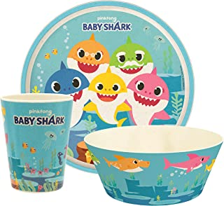 """Zak Designs Baby Shark Dinnerware Set for Kids Includes 8"""" Plate, 6"""" Bowl, and 10oz Tumbler, Durable and Sustainable Melam..."""