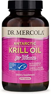 Dr. Mercola Antarctic Krill Oil for Women with Evening Primrose Oil, 90 Servings (270 Capsules),Source of Omega 3 Fatty Ac...