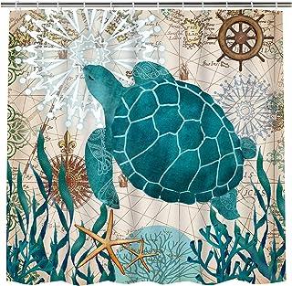 پرده حمام پرده دریایی لاک پشت دریایی Ocean Creature چشم انداز پرده دوش پارچه پرده حمام طولانی ضد آب پرده حمام مجموعه ای با 12 قلاب
