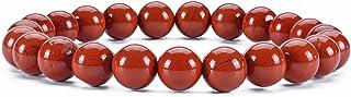 "Cherry Tree Collection Gemstone Beaded Stretch Bracelet 8mm Round Beads 7"" (Red Jasper - Burnt Orange)"