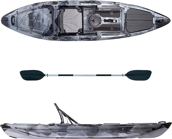 Kayak-canoa kokuren grigio/nero - cm 330 - seggiolino - portacanna - pagaia - atlantis B08W8TQBZV