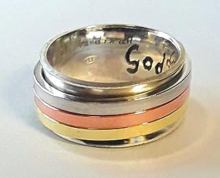 94eab8c6560 Bague anxiety ring, en argent 925, avec trois anneaux qui tournent  librement de cuivre