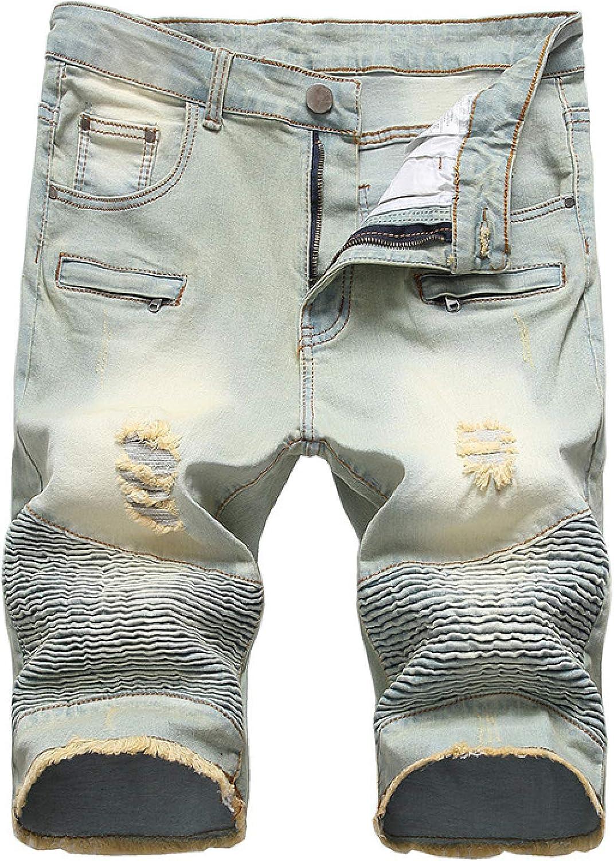Wantess Men's Denim Shorts Fashion Printing Blue Coating Ribbed Stretch Slim Fit 30