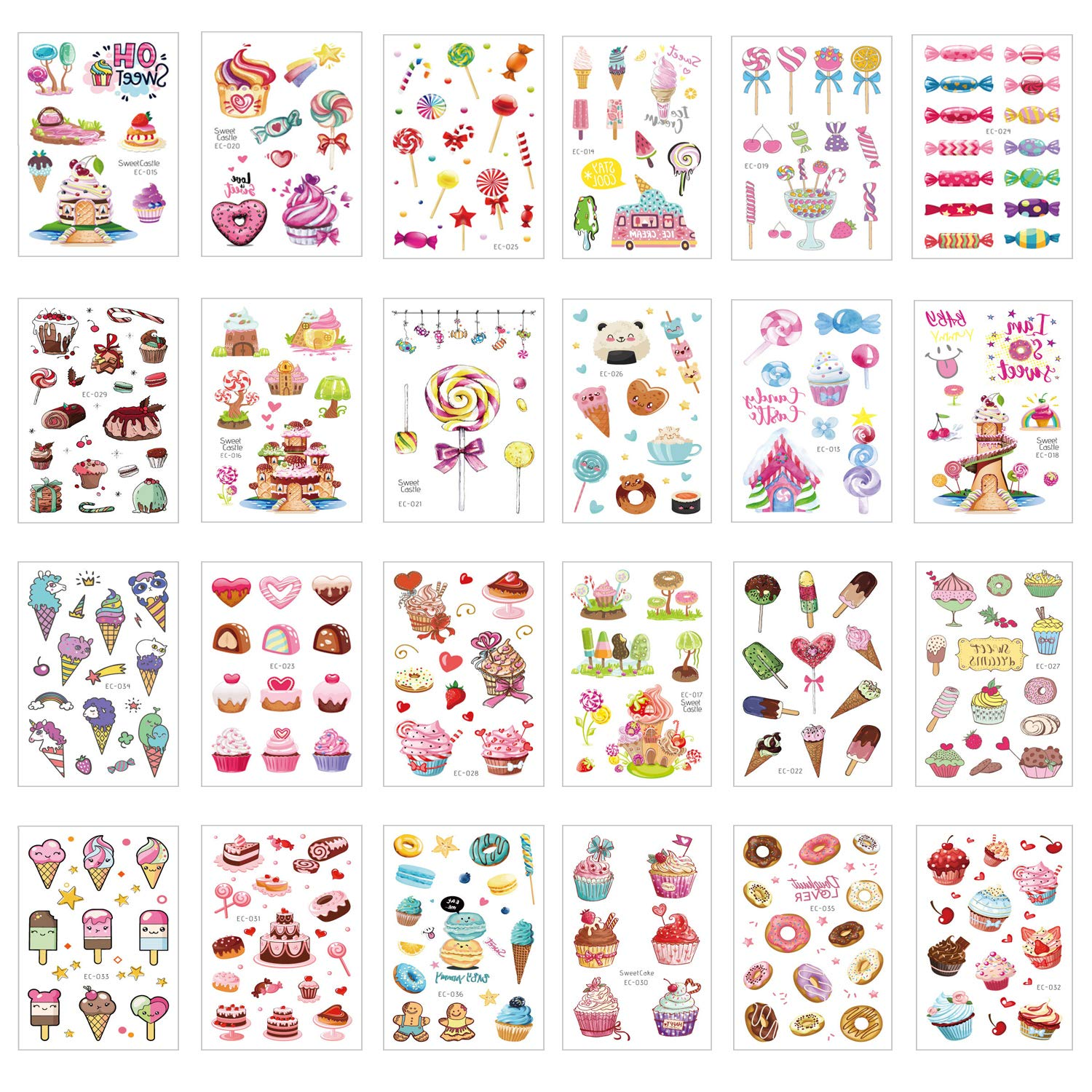 Max 75% OFF 300PCS Ice Cream Temporary Tattoos for to Max 48% OFF Kids Easy Tempora Use