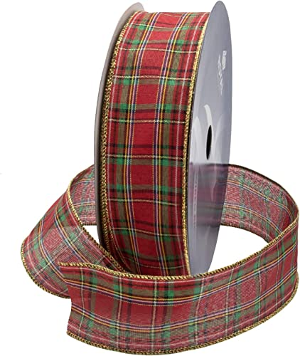 """popular Wired Traditional Red Clarkston online Tartan Plaid Christmas Ribbon Waterproof with Gold Edge 2 1/2"""" online sale (#40) 50 Yards Roll, for Floral & Craft Decoration by Royal Imports outlet sale"""