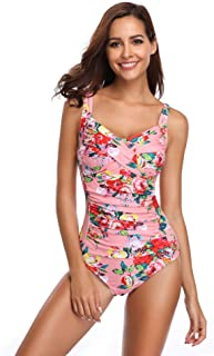 LALAVAVA Women Vintage One Piece Swimsuit Monokini Ruched Tummy Control Bathing Suit