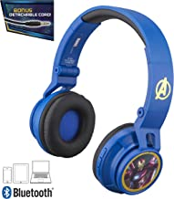 Avengers Infinity War Kids Bluetooth Headphones for Kids Wireless Rechargeable Foldable Bluetooth Headphones with Microphone Kid Friendly Sound and Bonus Detachable Cord