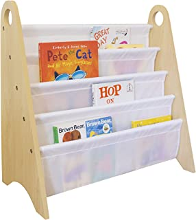 Wildkin Kids Modern Sling Bookshelf for Boys and Girls, Wooden Design Features Two Top Handles and Four Fabric Shelves, He...