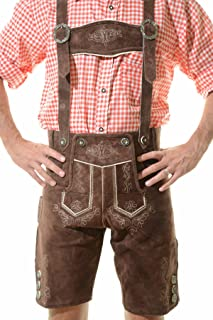 Men`s Bavarian Lederhosen Tracht Oktoberfest Lederhosen For Sale Brown