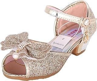 be7cdb58b6f43 Tyidalin Sandales Ceremonie Fille, Chaussure à Talon Enfant Ballerine  Princesse Paillettes pour Mariage Déguisement