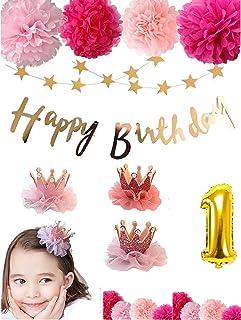 〜 すべての女の子へ 〜 【 SelfMake 】 お誕生日 バースデーセット 豪華内容(クラウン2色付き・ペーパーフラワー9輪・HappyBirthday & スターガーランド。選択オプションバルーン) (赤&ピンク)
