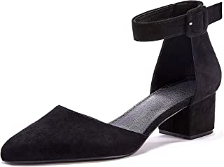 Women's Pointed Toe Pumps Ankle Strap Buckle Chunky Block...