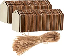 Unfinished Wood Tag - 100-Pack Wooden Gift Tags with Jute Ropes, Natural Rustic Wood Craft Labels for Home DIY Supplies, Wedding Decoration, 2.7 x 1.5 inches
