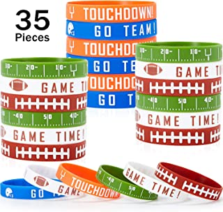 BBTO 35 Pieces Football Silicone Bracelet Motivational Rubber Wristbands Rugby Silicone Wristband for Sport Themed Football Themed Birthday Party Award Gift