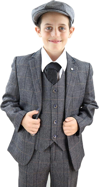 Cavani Boys Albert 3 Piece Suits Check Tweed Regular Fit Blazer Brown Check