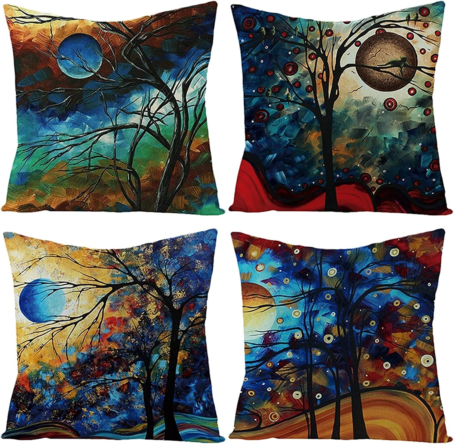 Daesar 4 years warranty Throw Cushion Covers Pillows Cases Over item handling ☆ 4 Pack Black 20x Blue