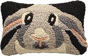 "Chandler 4 Corners Rabbit Throw Pillow - Hand-Hooked New Zealand Wool Animal Face Cushion - 12"" x 8"""