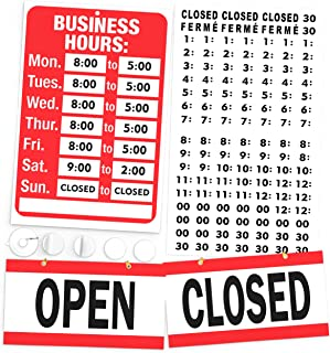 Open Closed Sign, Business Hours Sign Kit - Bright Red and White Colors - Includes 4 Double Sided Adhesive Pads and a Black Vinyl Number Sticker Set - Ideal Signs for Any Store, Business, Office