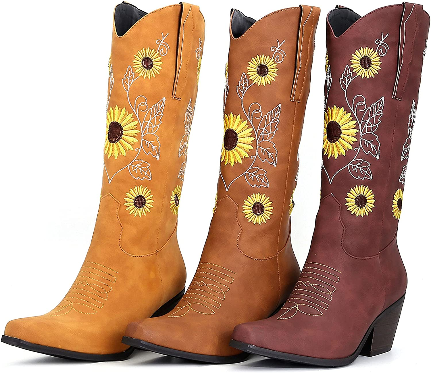 SaraIris Women's Western Boot Cowgirl Cowboy Boot Vintage Embroidered Knee High Boots Chunky High Heel Pointed Slip On Boots