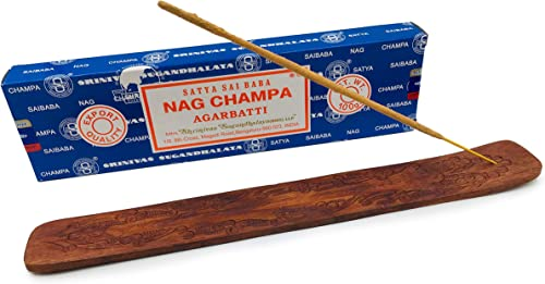 popular Alternative Imagination 100 Gram Nag Champa with Carved online Floral Wooden online sale Incense Tray outlet sale