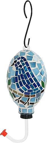wholesale Sunnydaze outlet online sale Mosaic Glass Bluebird Outdoor 2021 Hanging Hummingbird Feeder, 6 Inch online