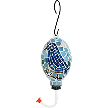 Sunnydaze Mosaic Glass Bluebird Outdoor Hanging Hummingbird Feeder, 6 Inch