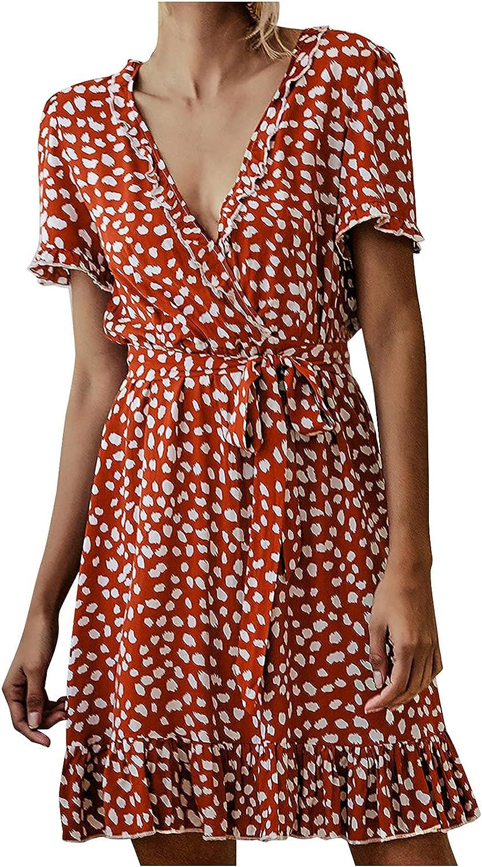CANDITY Women's Polka Dot Dresses Summer V Neck Short Sleeve Mini Dress Drawstring Dress Ruffle Hem Mini Dress