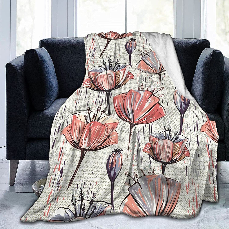 Spring new work Blankets Custom Blanket Retro Watercolor Premium Soft Tulip Free shipping on posting reviews Thro