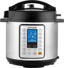 Nutricook Smart Pot Prime by Nutribullet 1000 Watts - 10 in 1 Instant Programmable Electric Pressure Cooker w/ Steam Basket, 6 Liters, 16 Smart Programs, Brushed Stainless Steel/Black, 2 Year Warranty