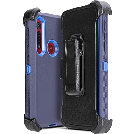 Fits Belt Clip Holster Cell Phone Case for Motorola Moto G8 Plus (6.3inch), Heavy Duty Hybrid Shockproof Bumper Built in Screen Protector Case with Kickstand Belt Rugged Case (Navy)