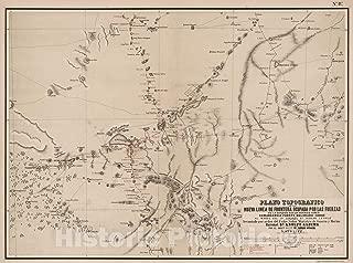 Historic Pictoric Map : Plano Topografico de la Nueva L?NEA de Frontera ocupada por las fuerzas de la Division Sud de Buenos Aires, 1877, Vintage Wall Decor : 59in x 44in
