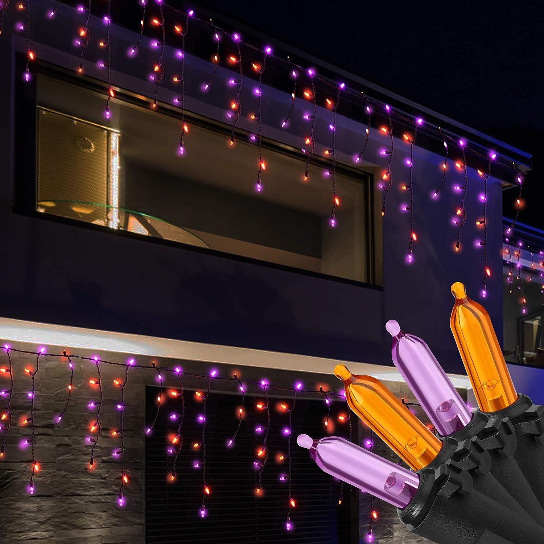 Columbus Mall RECESKY 100 LED Halloween Icicle Lights Purple Orange - Cu 7.7ft Sale
