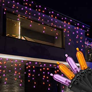 RECESKY 100 LED Halloween Icicle Lights - 7.7ft Purple and Orange Curtain String Lights for Outdoor, Indoor, Garden, Yard, House, Window Decor - Halloween Lighting, Halloween Party Decorations