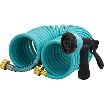 AUTOMAN EVA Recoil Garden Hose 25ft - Includes 7 Pattern Spray Nozzle,Curly Water Hose 25 Foot,Watering Hose Coil,Retractable,Corrosion Resistant Garden Coil Hose.