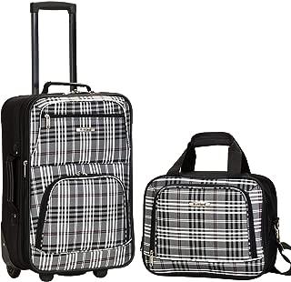 Rockland Fashion Softside Upright Luggage Set, Black Plaid