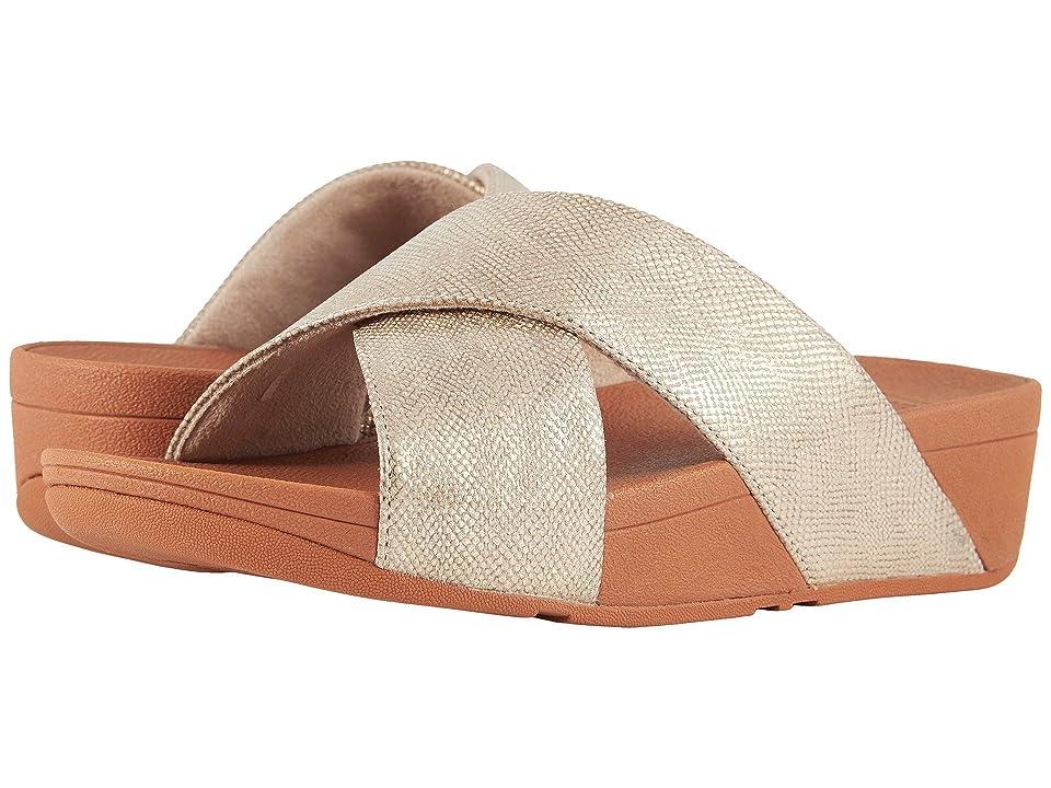 FitFlop Lulu Cross Slide Shimmer Print Sandal (Gold Shimmer Print) Women