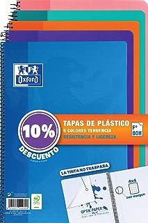 Oxford - Pack de 5 cuadernos (tapa plástico, 80 hojas,