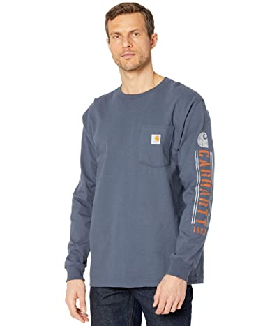 Carhartt Original Fit Heavyweight Long Sleeve Pocket Logo Graphic T-Shirt (Bluestone) Men