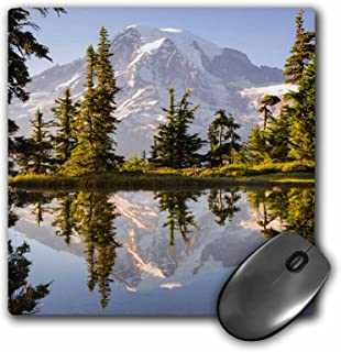 3dRose USA, Washington, Mt. Rainier Reflecting in a tarn at Sunset. - Mouse Pad, 8 by 8 inches (mp_205345_1)