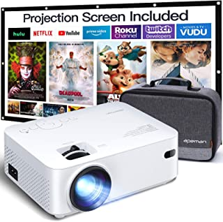 APEMAN Mini Projector, 1080P Supported, 200'' Display 60000 Hrs Lamp Life Portable Video Projector, Compatible with HDMI, ...