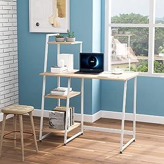 ModernLuxe Bureau avec étagères de rangement, table d'étude, poste de travail pour les petits espaces, table d'ordinateur ...