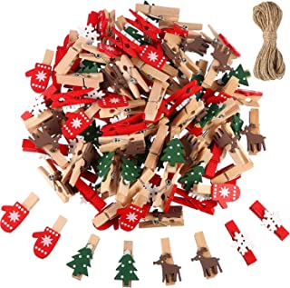 Christmas Wooden Clips 100 Pieces Mini Wooden Craft Clothespins Photo Paper Peg Pin Craft Clip Pictures Note Clips with 10 Meters Jute Twine (Christmastree, Snowflake, Reindeer, Gloves)