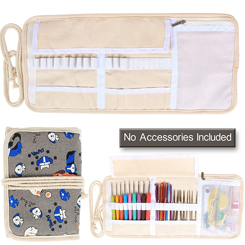 Damero New Canvas Crochet Hooks Wrap Knitting/Crochet Accessories Pouch Craft Tools Organizer Bag, Cartoon Dogs-(Not Accessories Included)