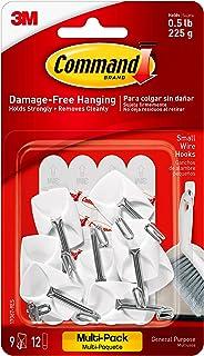Command Kleine draadhaken, Value Pack van 9 haken en 12 Command Adhesive Strips, geschikt voor het ophangen van keukengere...
