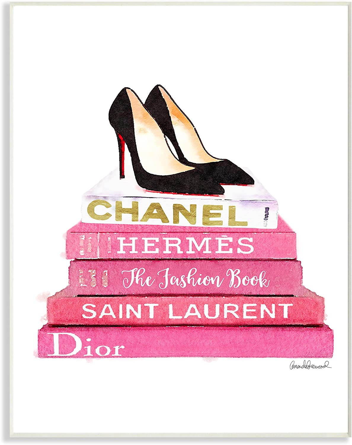 Stupell Industries Glam Pink Fashion Books Black Pump Hells Oversized Wall Plaque Art, Proudly Made in USA
