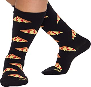 LISH Pizza Print Wide Calf Compression Socks - Graduated 15-25 mmHg Knee High Food Themed Plus Size Support Stockings (Black
