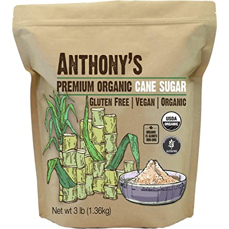 Anthony's Organic Cane Sugar, 3 lb, Granulated, Gluten Free & Non GMO